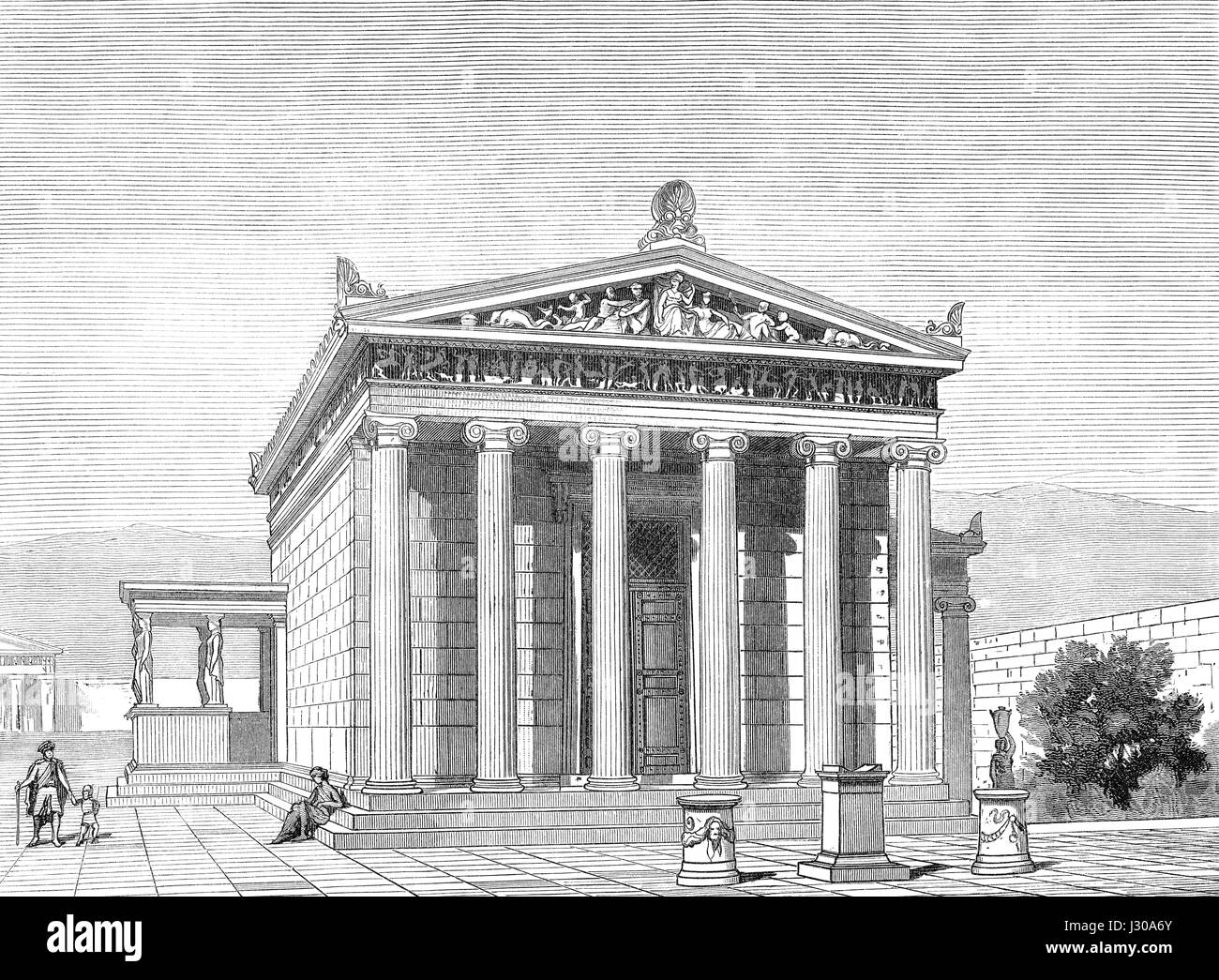 Reconstruction of the Erechtheion or Erechtheum, an ancient Greek temple on the north side of the Acropolis of Athens - Stock Image