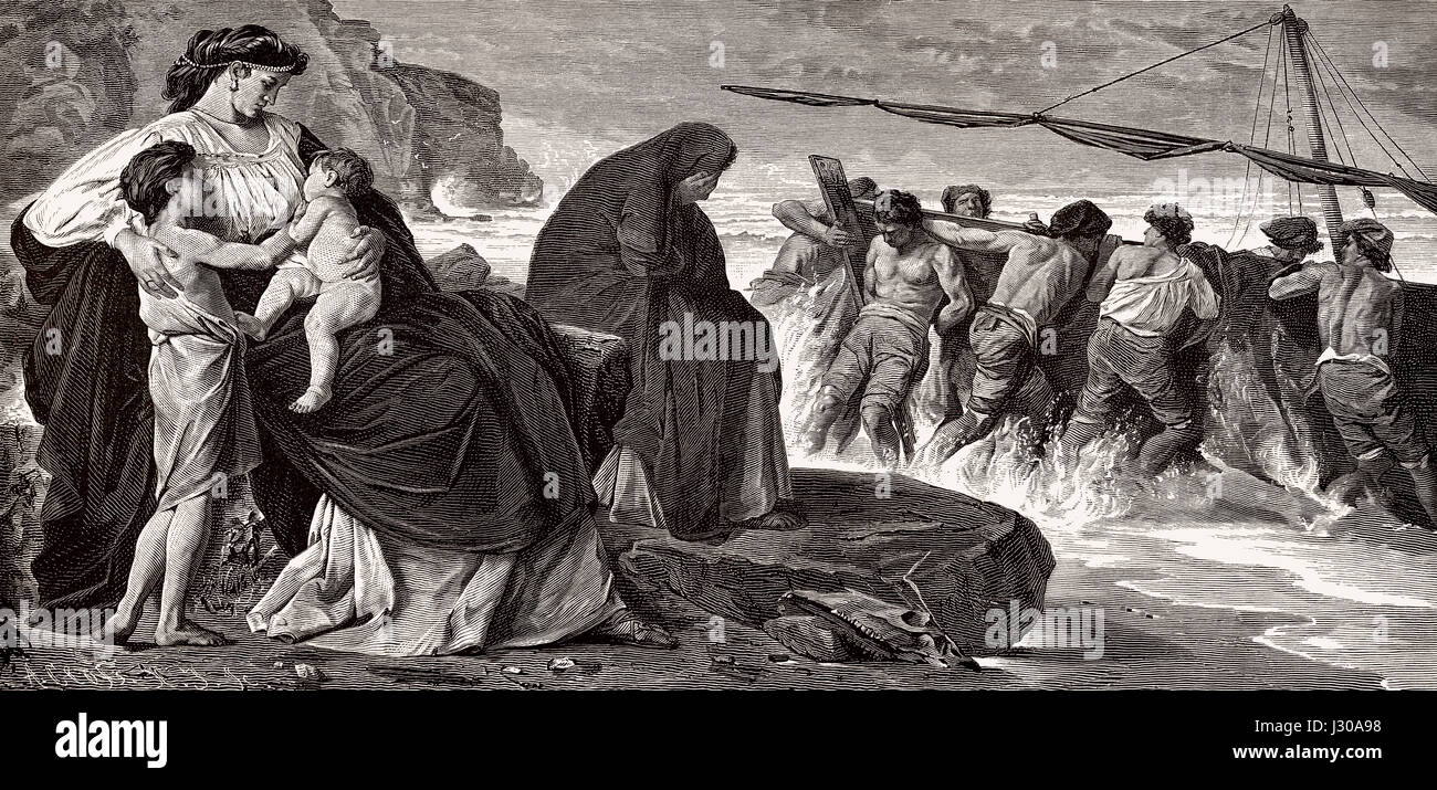 Medea's farewell, Greek mythology - Stock Image