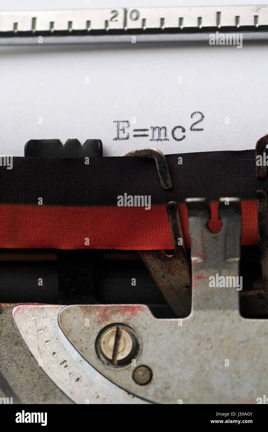 typewriting E=mc2 - Albert Einstein's relativity equation - Stock Image