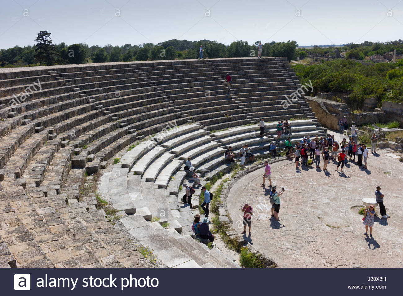 The Roman amphitheatre in the ruins of the ancient city of Salamis, northern Cyprus Stock Photo