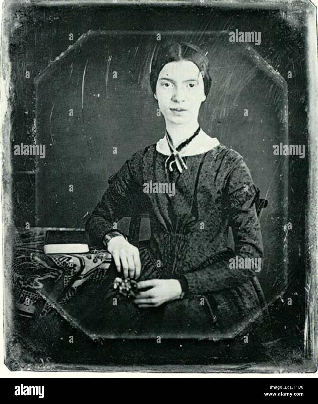 Black-white photograph of Emily Dickinson - Stock Image