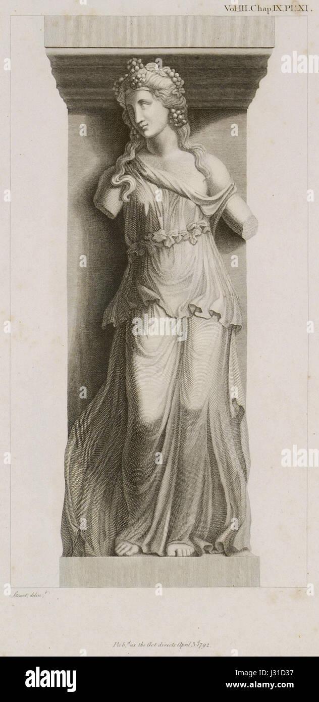 Bacchante with a Thyrsus - Stuart James & Revett Nicholas - 1794 Stock Photo