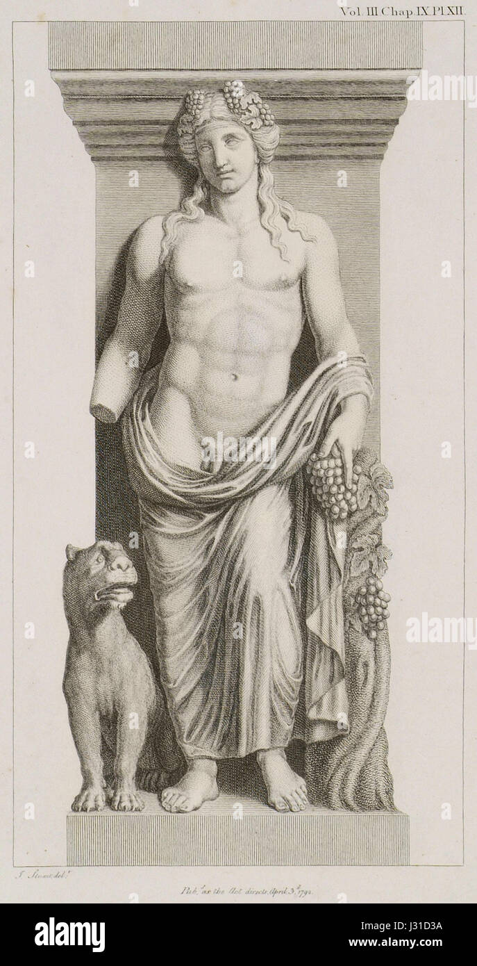 Bacchus with a Tiger See the Bacchae of Euripides - Stuart James & Revett Nicholas - 1794 Stock Photo