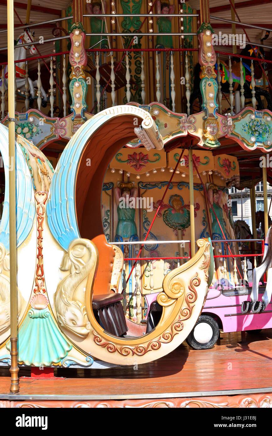 Merry go round, Paris, France - Stock Image