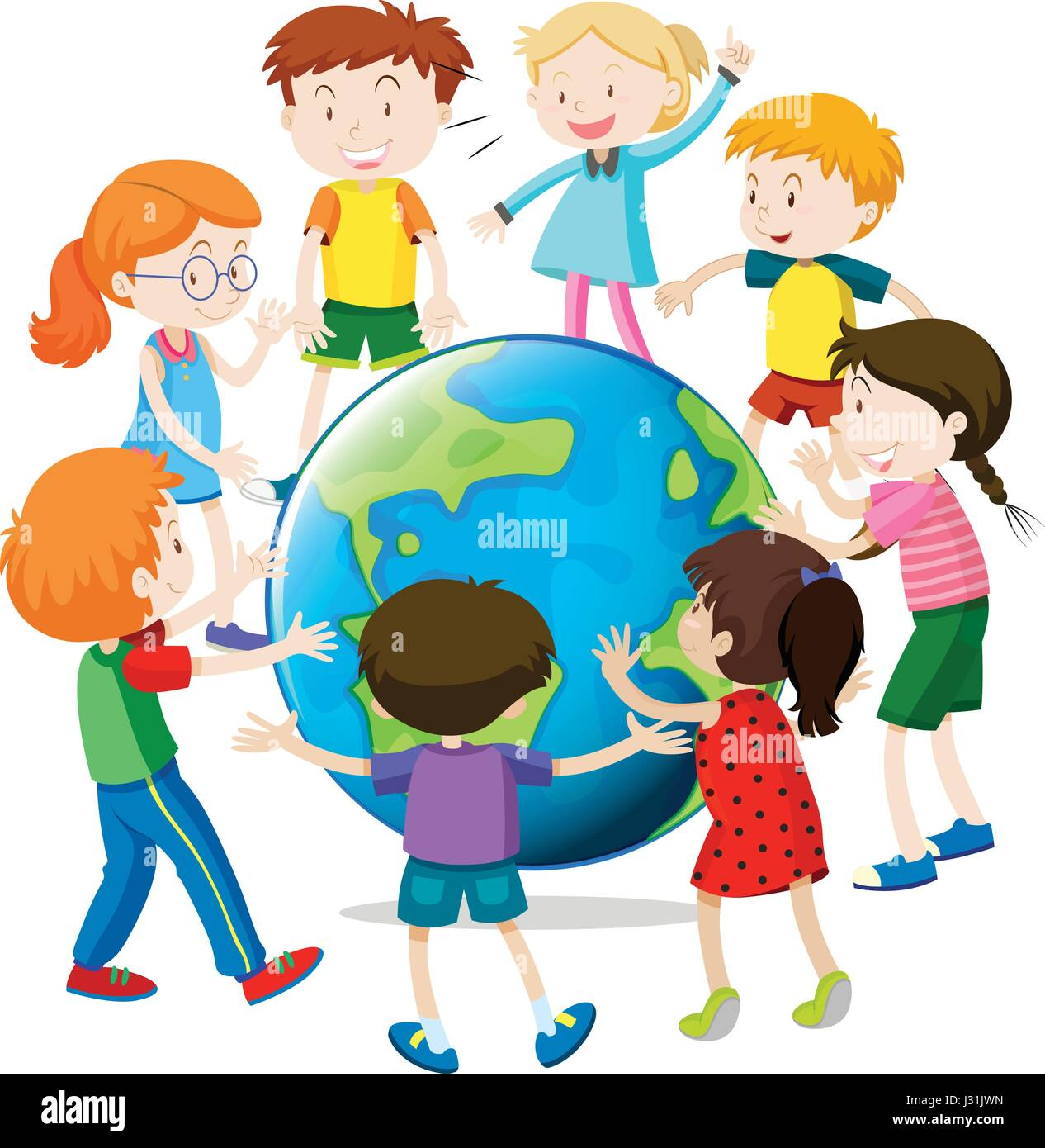 happy children around the world illustration stock vector art rh alamy com Plane Clip Art around the World Around the World Clip Art Borders