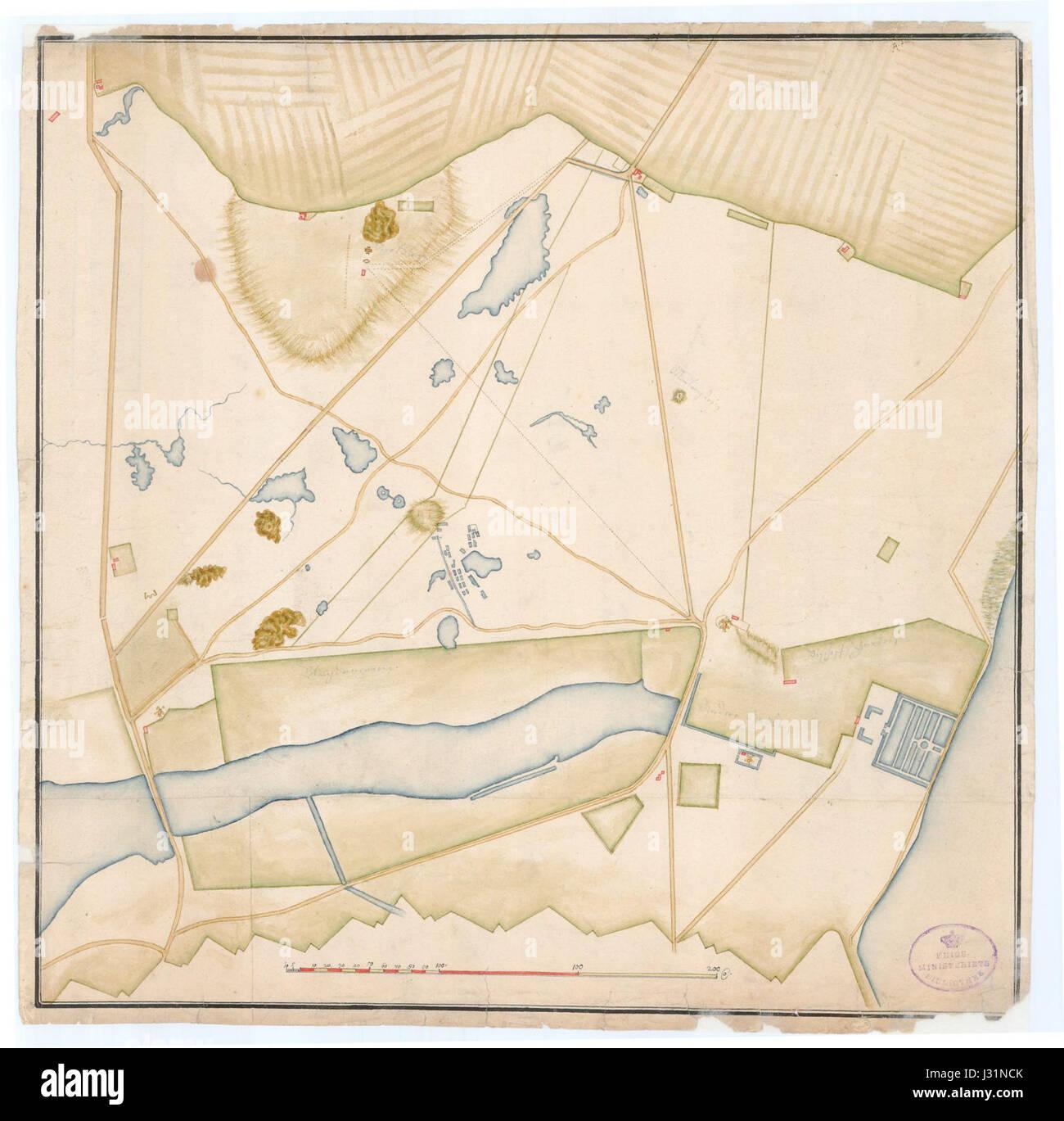 Blegdammene Copenhagen Map 1695 - Stock Image