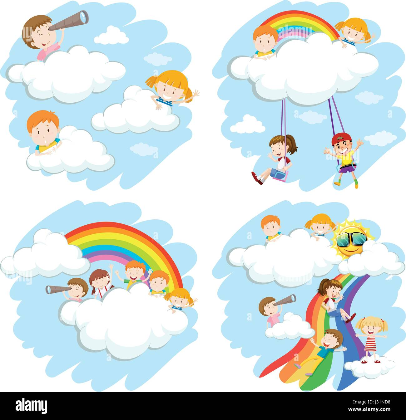 Happy children on fluffy clouds and rainbow illustration - Stock Image