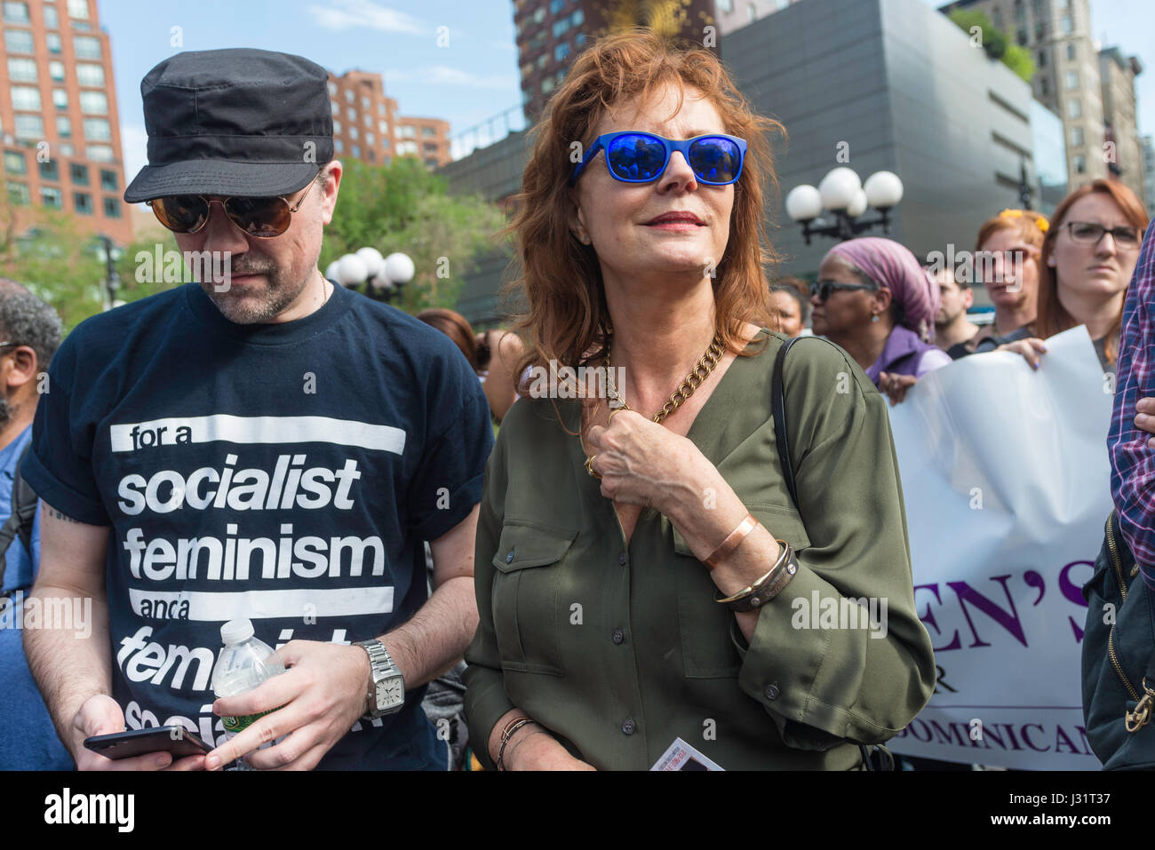 New York, NY 1 May 2017 - Actor and political activist Susan Sarandon at a May Day rally in Union Square Park. ©Stacy - Stock Image