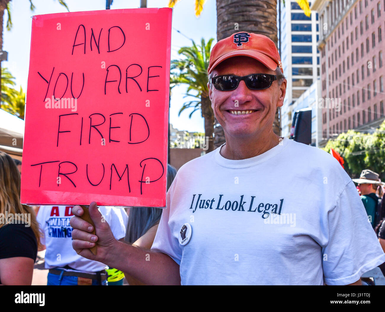 San Francisco, California, USA. 1st May, 2017. Tom Yankowski, a protester at the May 1 'Day Without Immigrants' - Stock Image