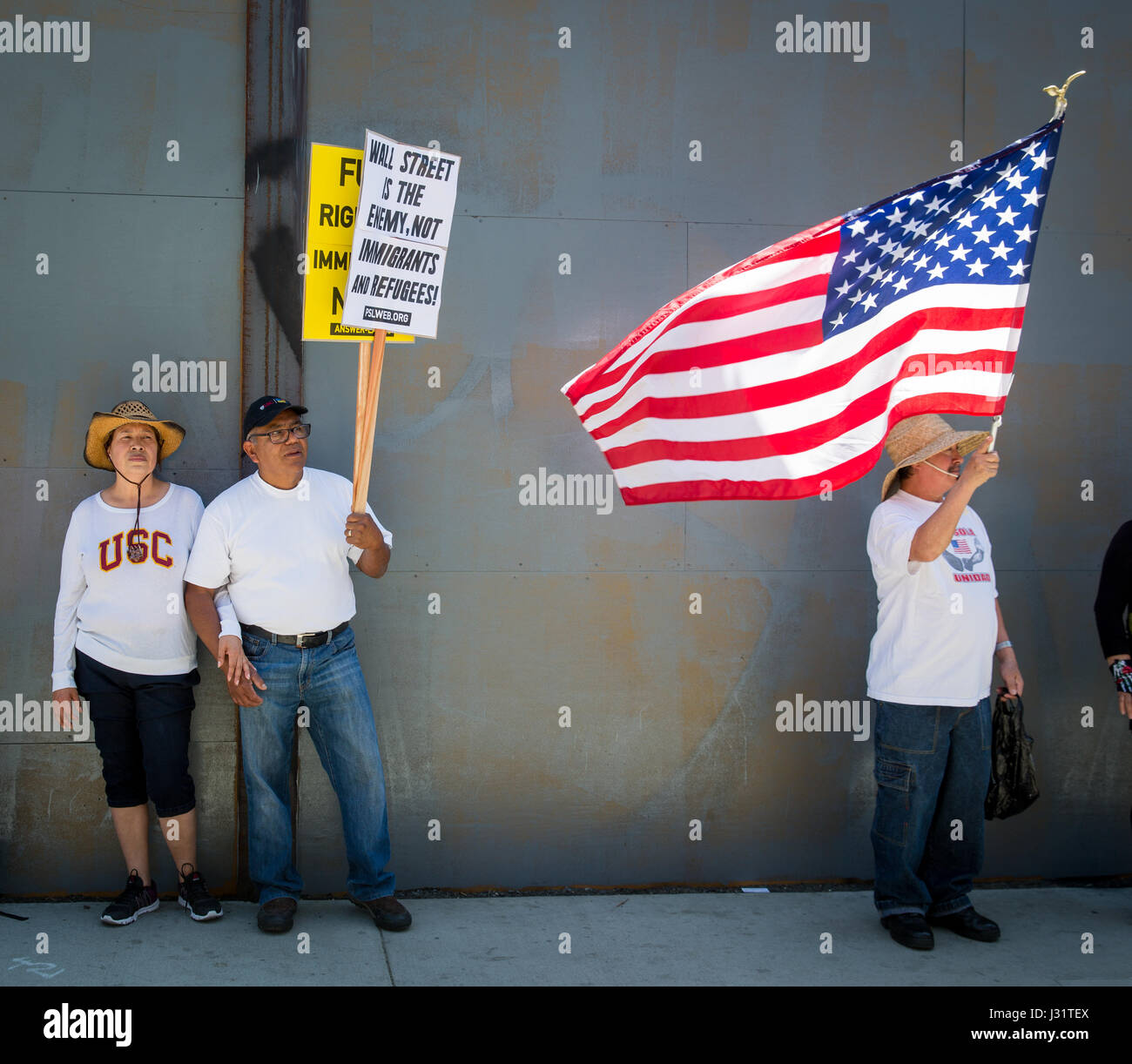 Los Angeles, USA. 1st May, 2017. Protesters at May Day rally in Downtown Los Angeles, California, May 1st, 2017. Stock Photo