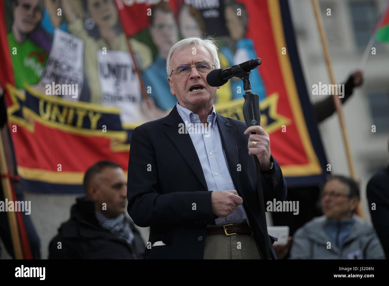 London, UK. 1st May, 2017. Britain's shadow chancellor of the exchequer John McDonnell addresses a May Day rally - Stock Image