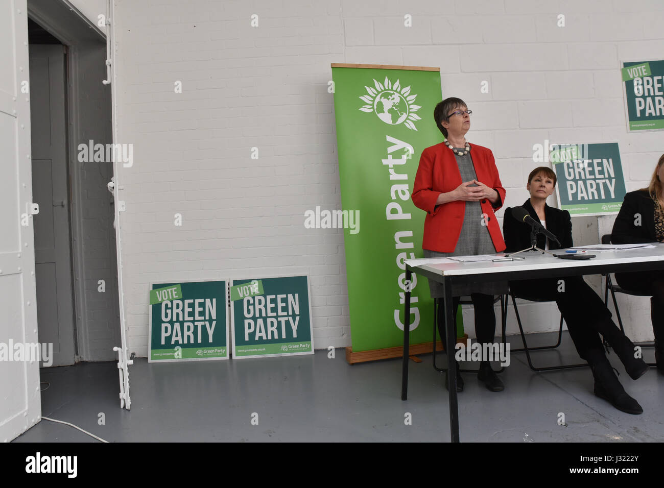 Space, Hackney, London, UK. 2nd May 2017. Molly Scott Cato MEP (candidate for Bristol West). Caroline Lucas, Sian - Stock Image