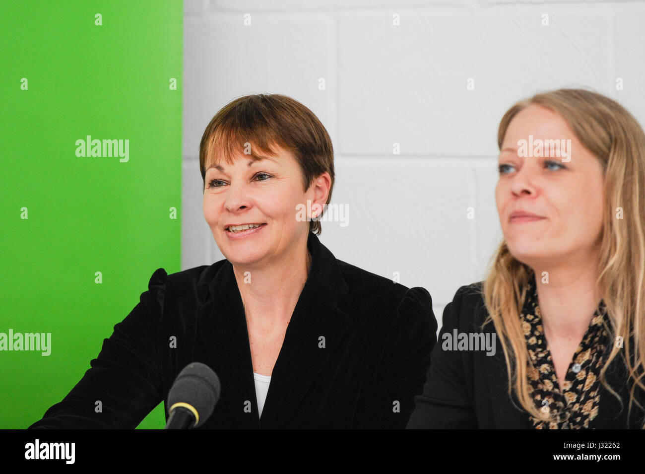 London, UK. 2nd May, 2017. (L to R) Caroline Lucas MP, Co-Leader of the Green Party, and Sian Berry, Green London - Stock Image