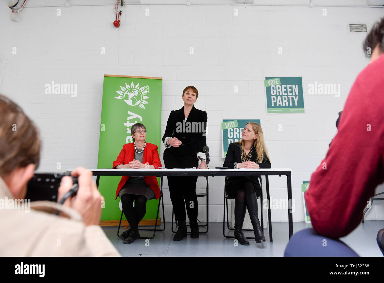 London, UK. 2nd May, 2017. (L to R) Molly Scott Cato, MEP and Green party candidate for Bristol West, Caroline Lucas - Stock Image