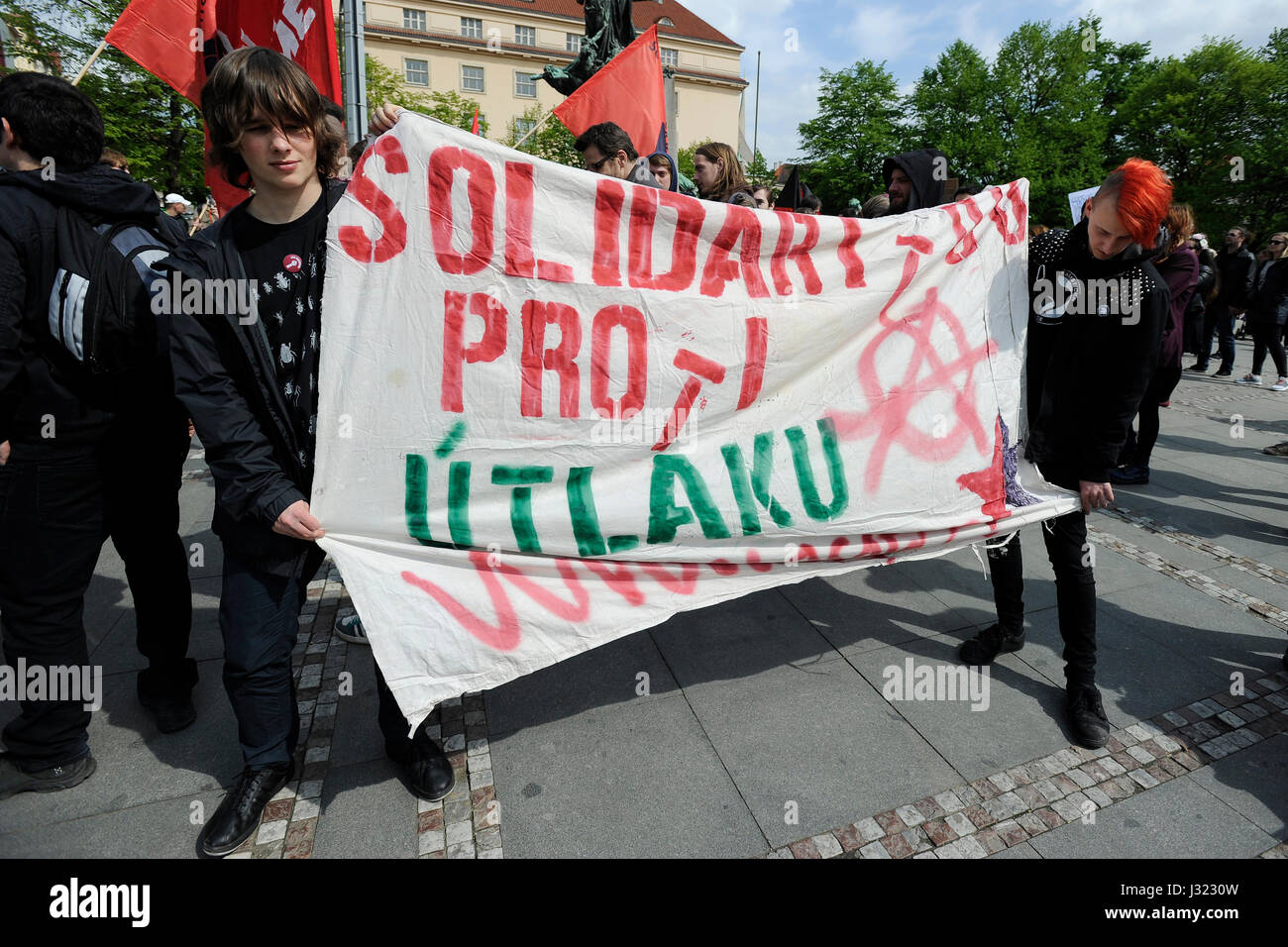 Prague, Czech Republic. 01st May, 2017. Ultra-left activists stage meeting in memory of judiciary murder of Chicago - Stock Image
