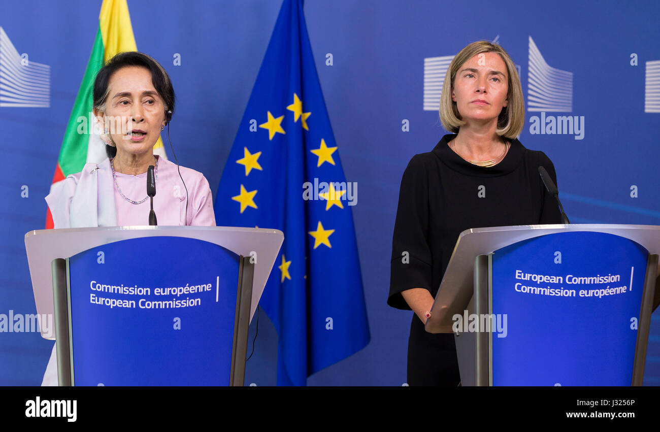 Aung San Suu Kyi with Federica Mogherini in Brussels, Belgium, on 2nd may 2017 (05/02/2017) - Stock Image