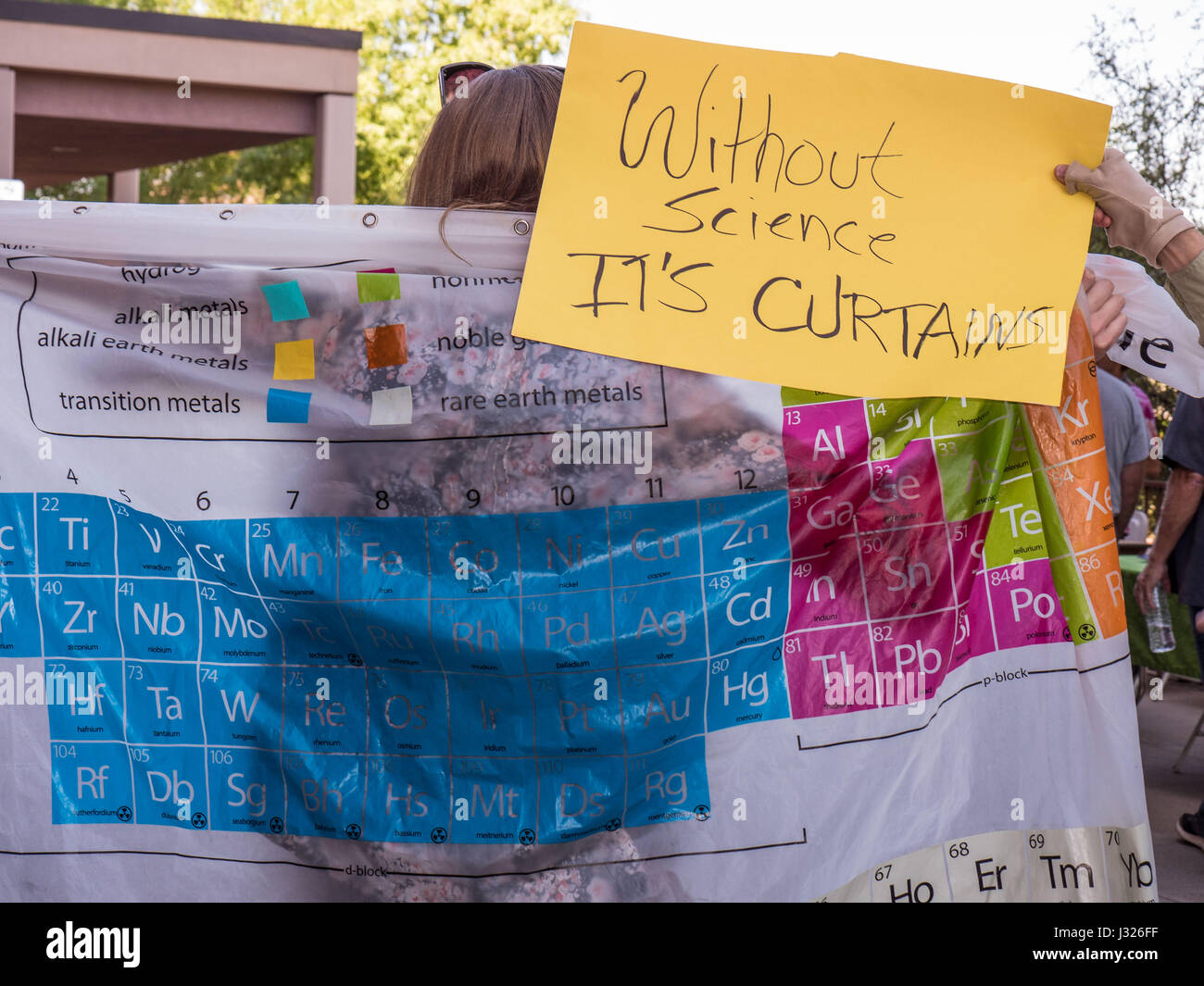 American citizens with protest signs at rally/march for Science on Earth Day 2017 in Arizona, USA. Stock Photo