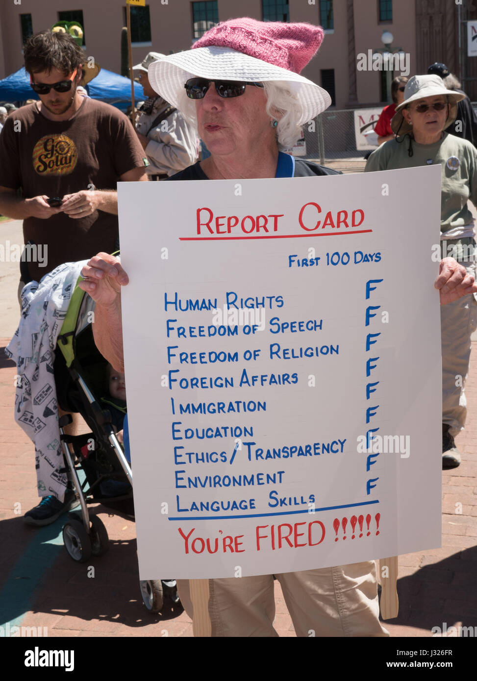 Report card for President Trump's accomplishments during his first 100 days in office, at People's Climate - Stock Image