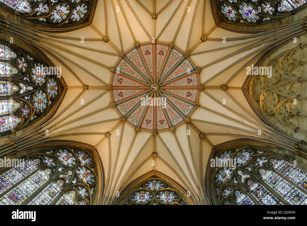 The Chapter House Ceiling inside York Minster - Stock Image