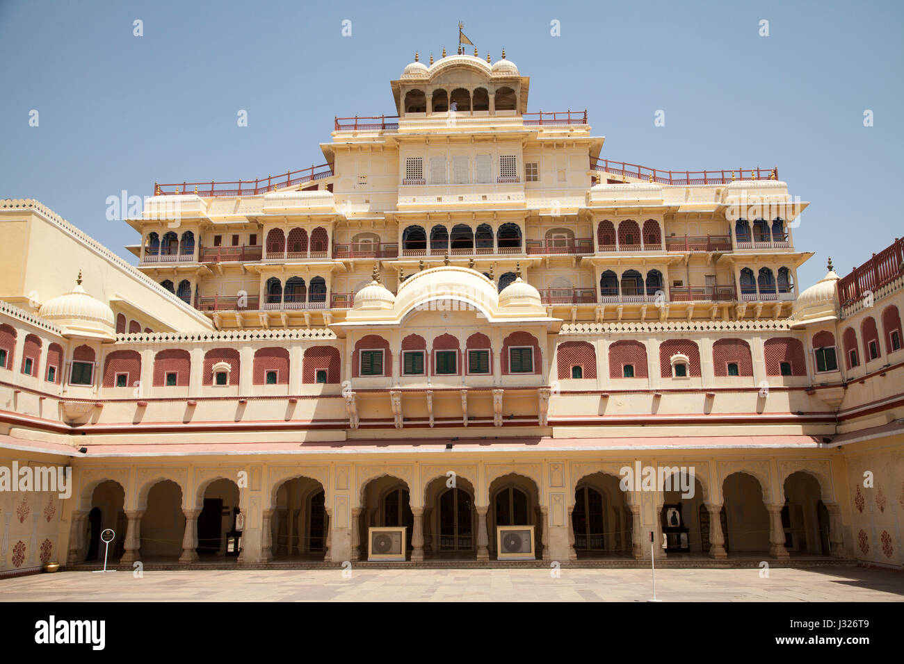The Chandra Mahal Palace, part of the City Palace of Jaipur in Rajasthan, India. - Stock Image