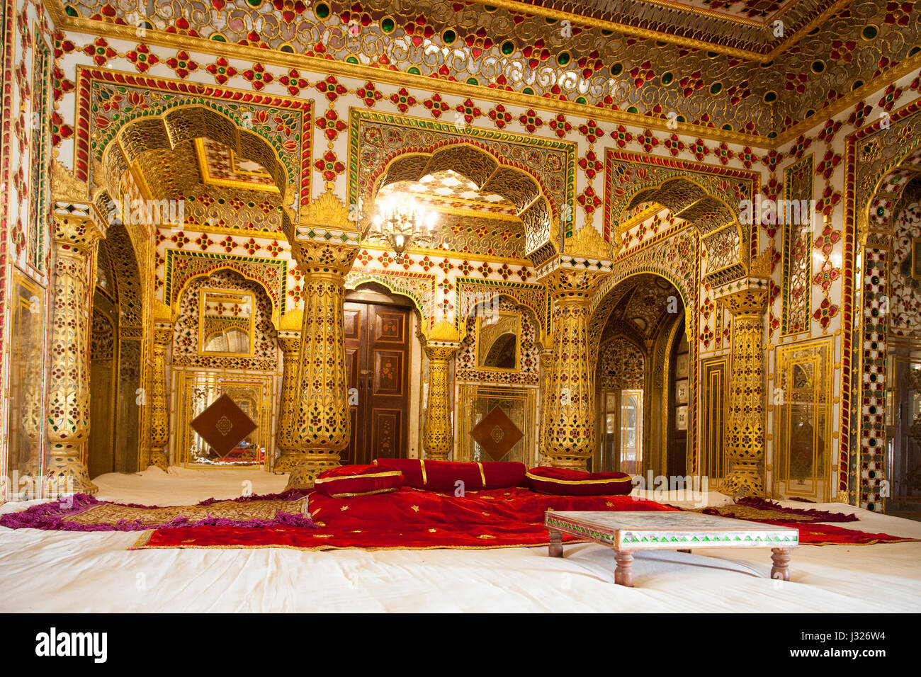 The 'Shobha Nivas' (Hall of Beauty) on the 4th floor of the Chandra Mahal at the City Palace, Jaipur. - Stock Image