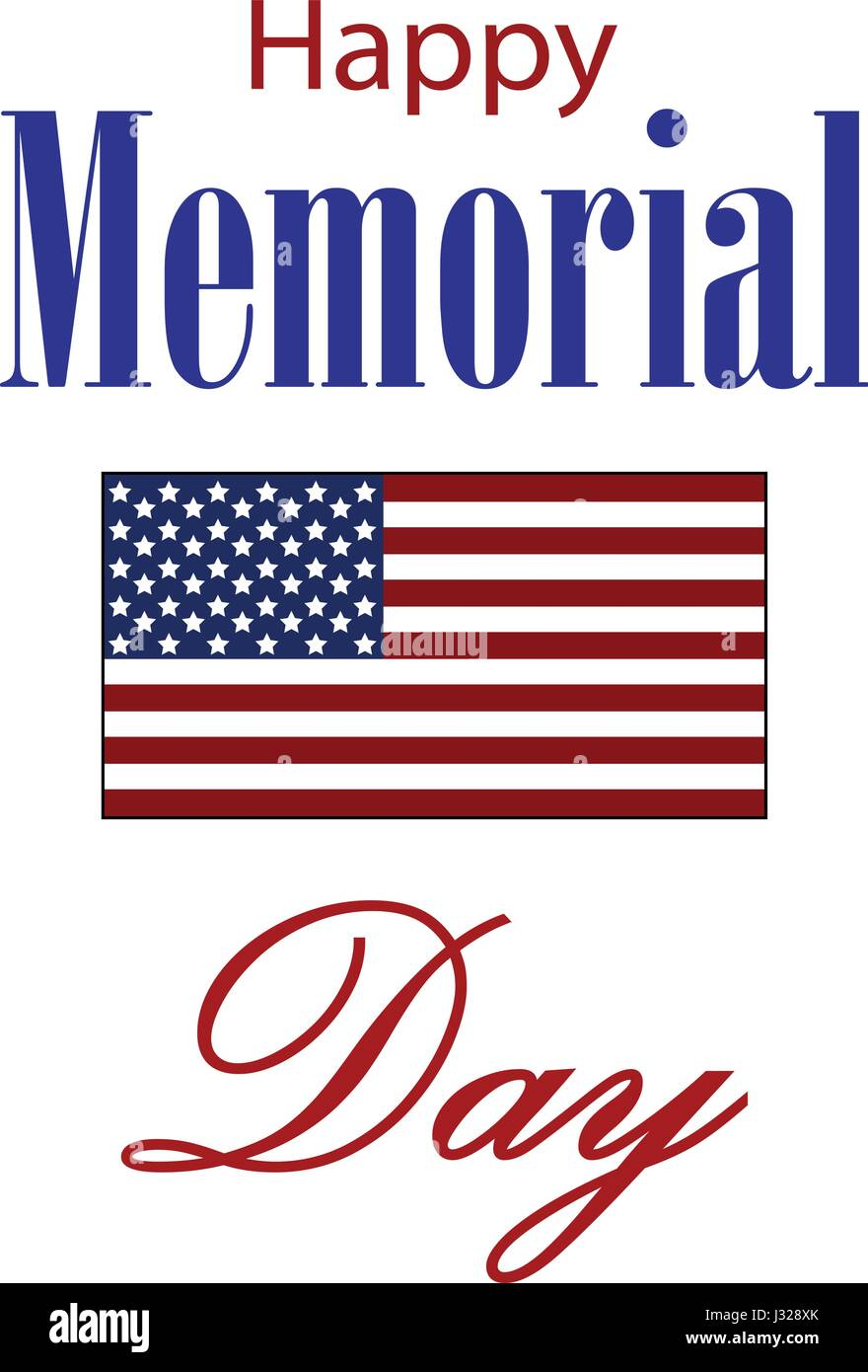 Vector Happy Memorial Day card. National american holiday illustration with USA flag. Festive poster or banner with Stock Vector