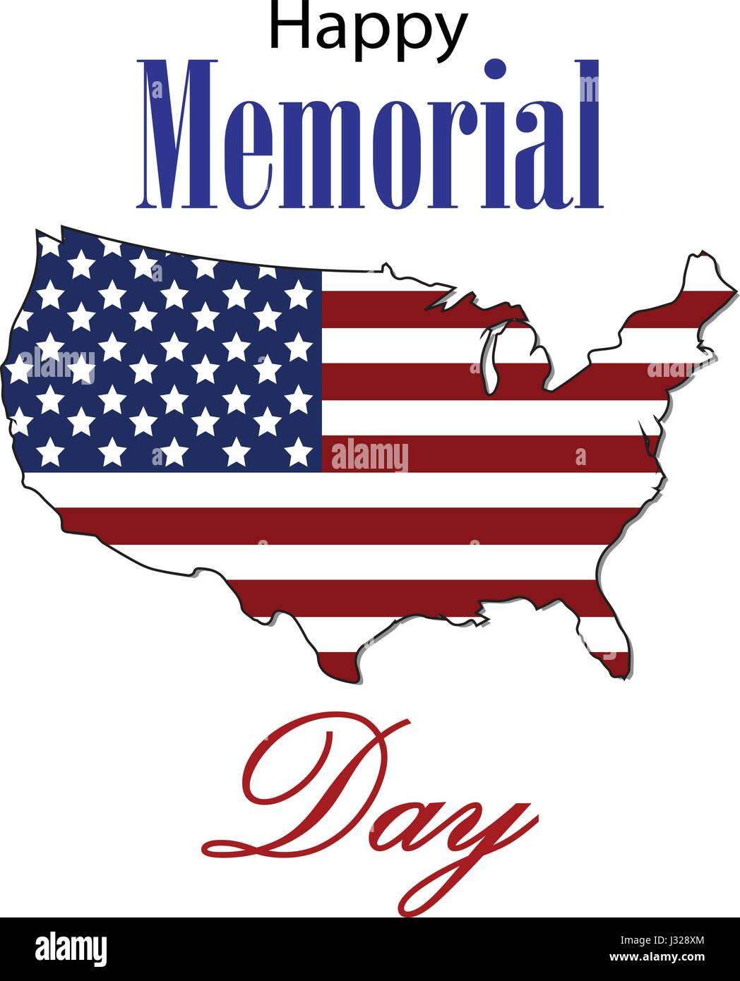 8e50fb32069f Vector Happy Memorial Day card. National american holiday illustration with USA  flag. Festive poster or banner with hand lettering.