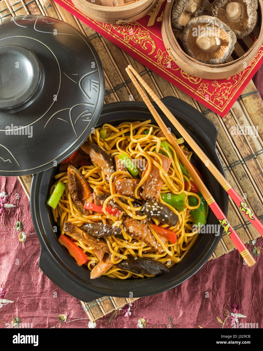 Hoisin duck noodles. Chinese food - Stock Image