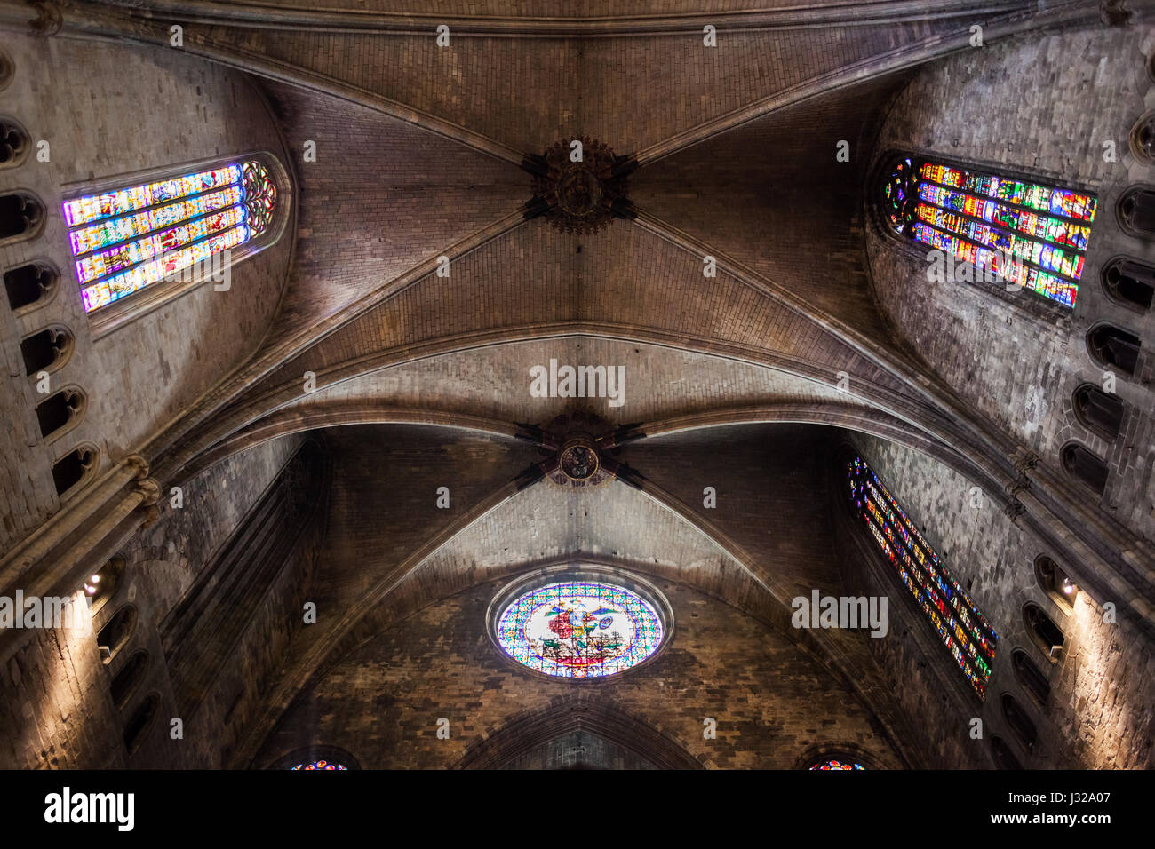 Gothic Groin Vault of Girona Cathedral in Gerona, Catalonia, Spain - Stock Image