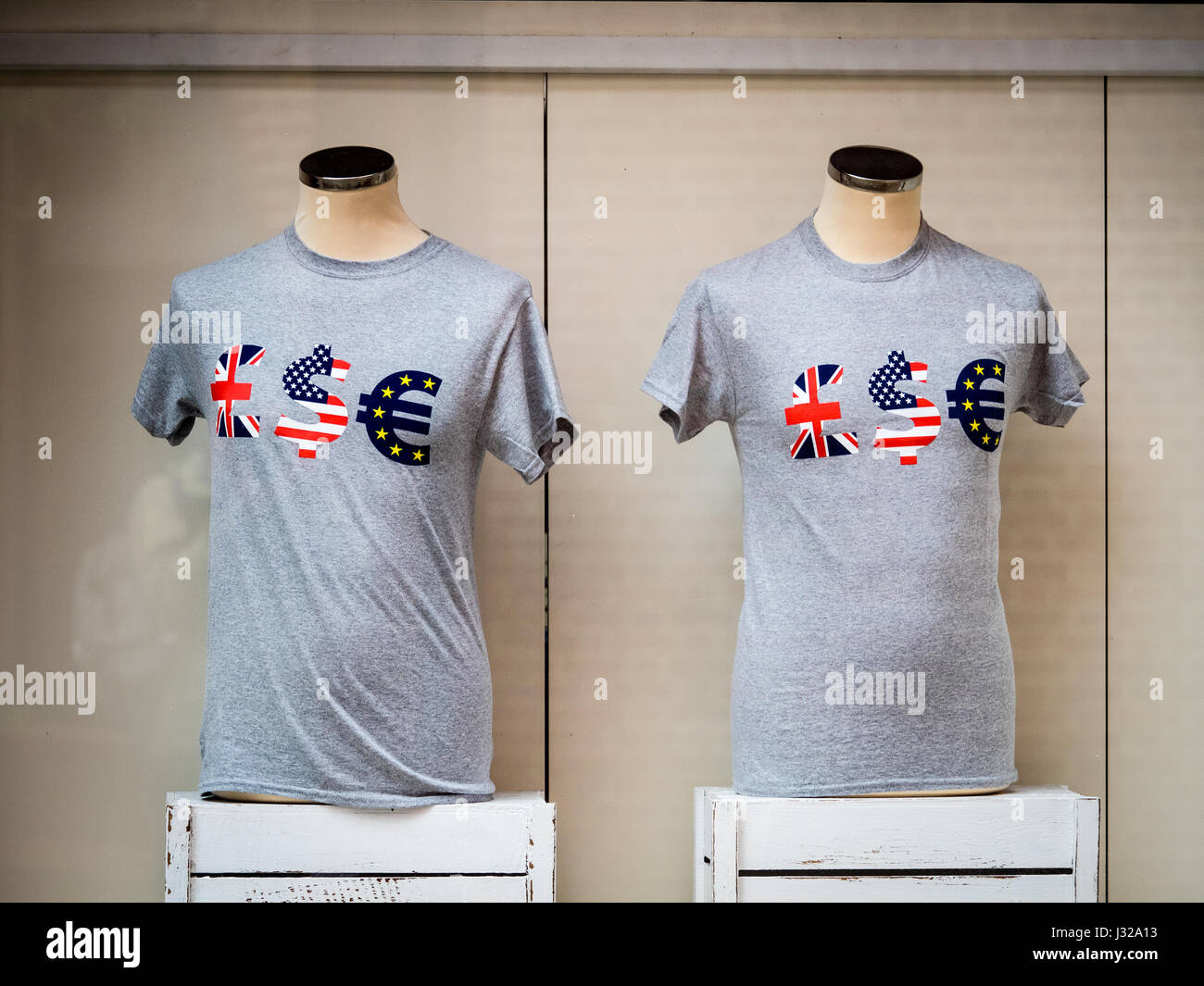 LSE tee shirts on sale in the window of the London School of Economics Student Shop in central London UK - Stock Image