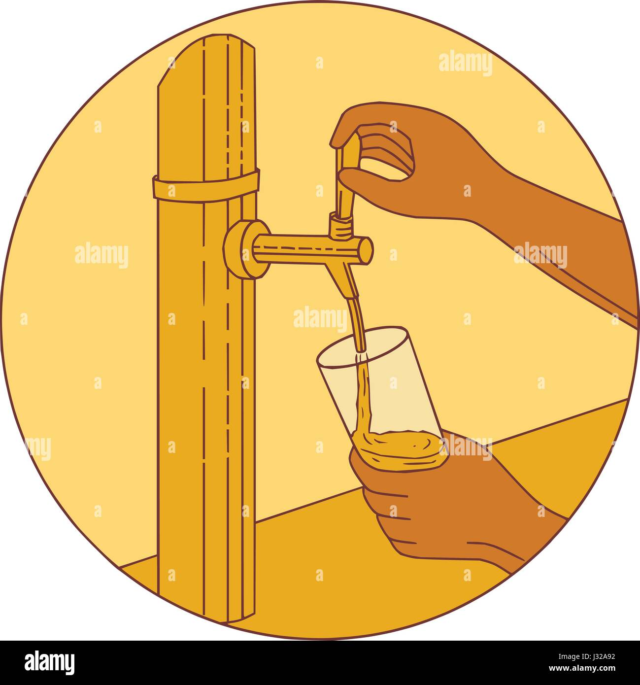 Drawing sketch style illustration of a hand holding glass pouring beer from tap set inside circle viewed from front. - Stock Vector