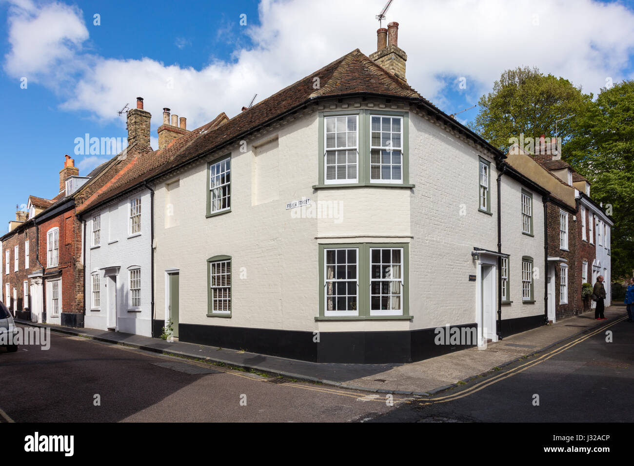 Historic Building on the Corner of Church Street and Fisher Street, Sandwich, Kent, UK - Stock Image