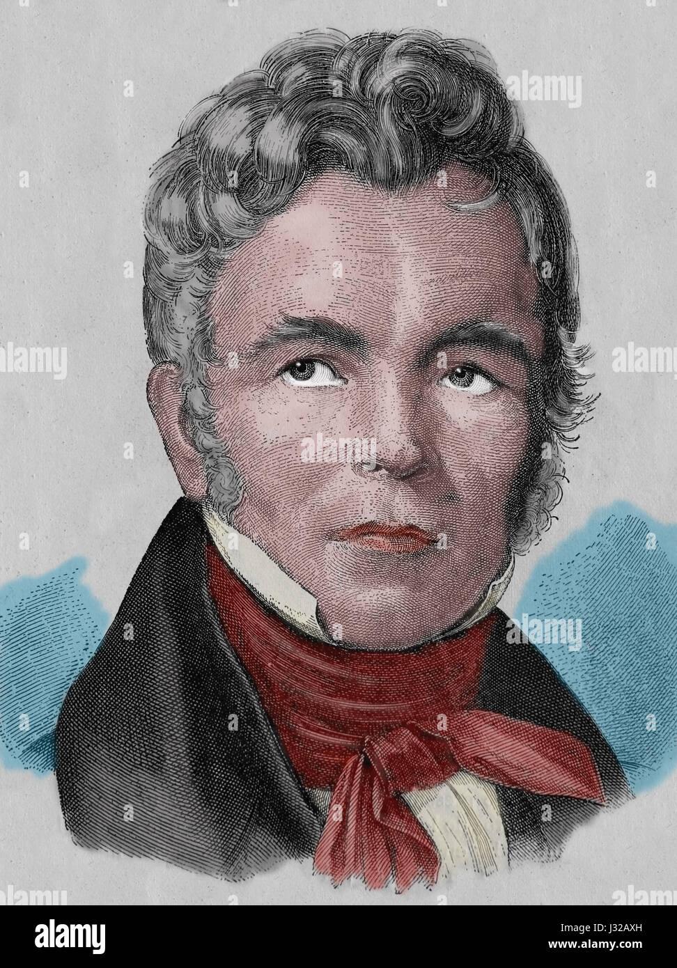 Karl Friedrich Schinkel (1781-1841). Prussian architect, city planner. Engraving. Nuestro Siglo, 1883. Spanish edition. - Stock Image