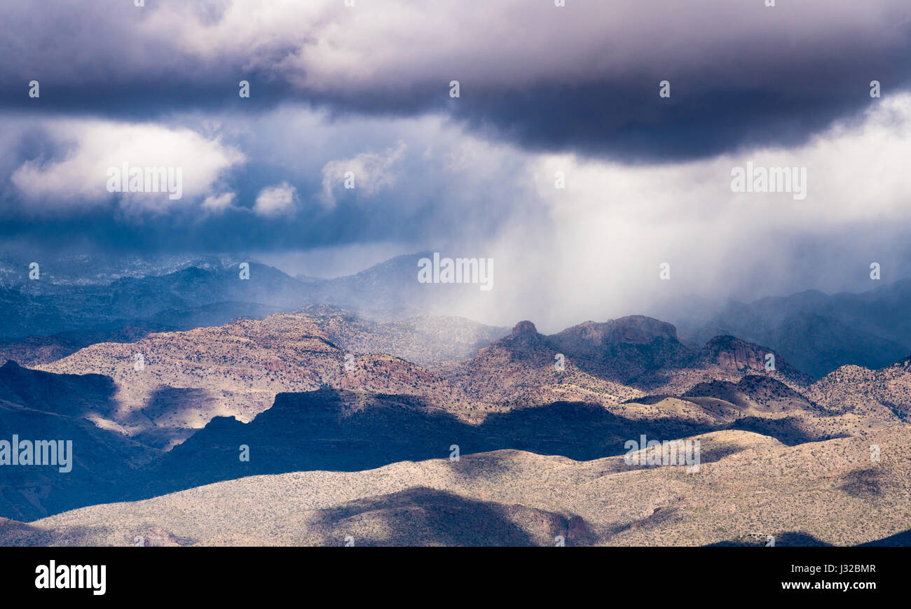 Storm over the Santa Catalina mountains in desert outside Tucson, Arizona, USA - Stock Image