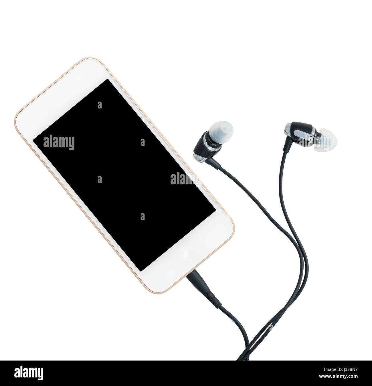MP3 digital music player built into smartphone or mobile phone with earbuds - Stock Image