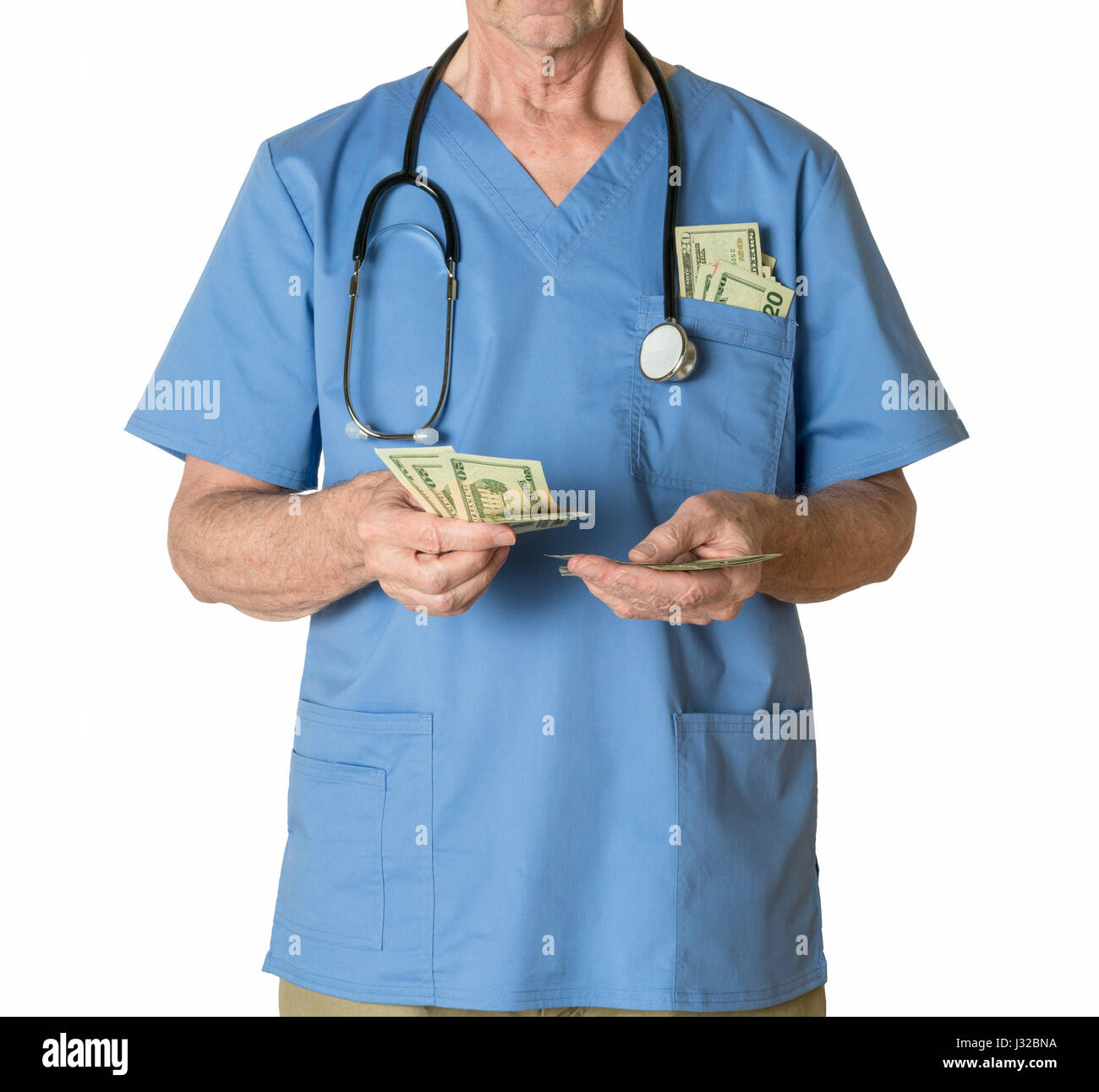 Doctor in scrubs counting money payment - healthcare, medical insurance, medicare, bills concept - Stock Image