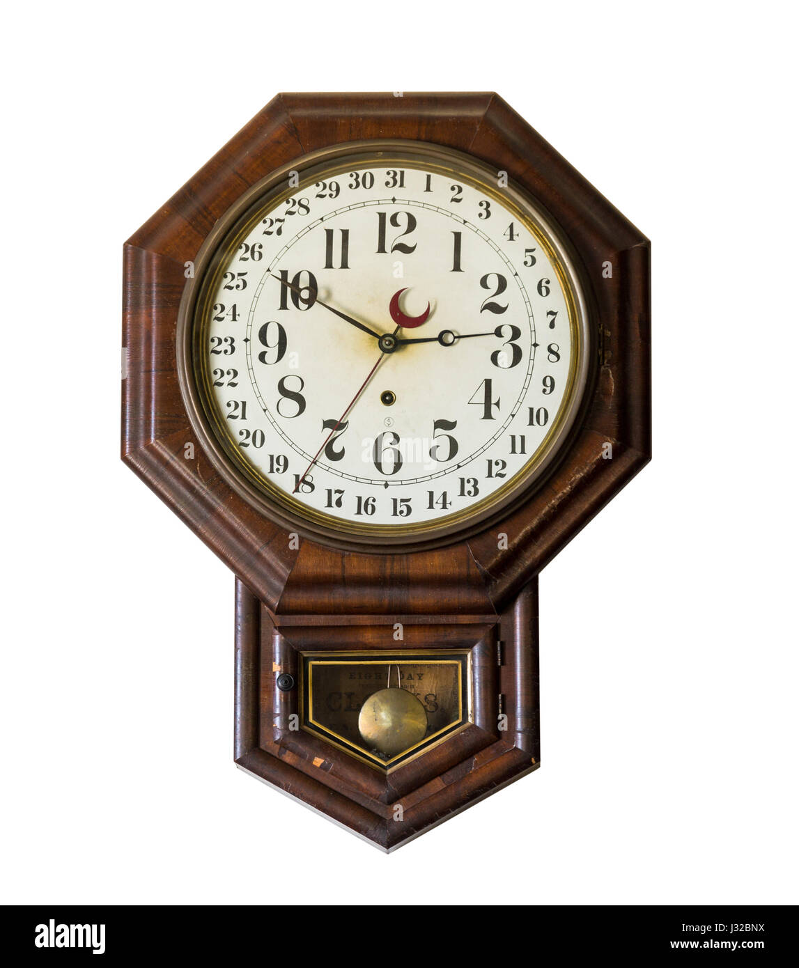 Antique wall clock - wooden - Stock Image