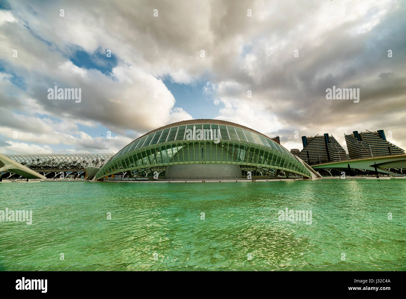 Valencia (Spain), the City of Arts and Sciences, projected by Santiago Calatrava and Felix Candela - Stock Image
