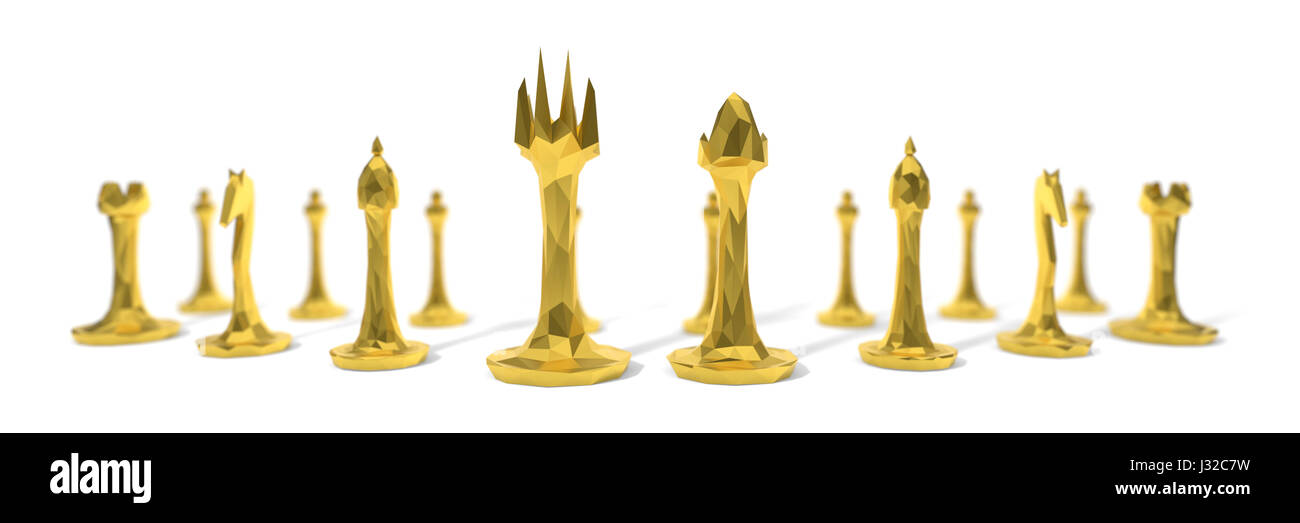 3d illustration of chees game pieces. - Stock Image