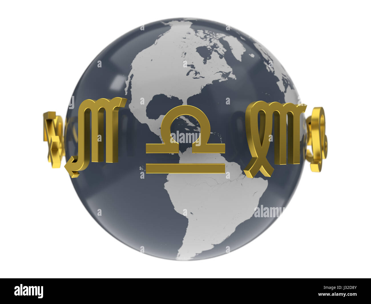 3d illustration of golden zodiac symbols around earth model. - Stock Image