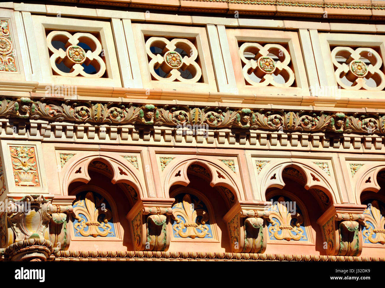 Closeup of terra cotta facade shows the beautiful architecture of the Consolidated Building in downtown, Columbia, - Stock Image