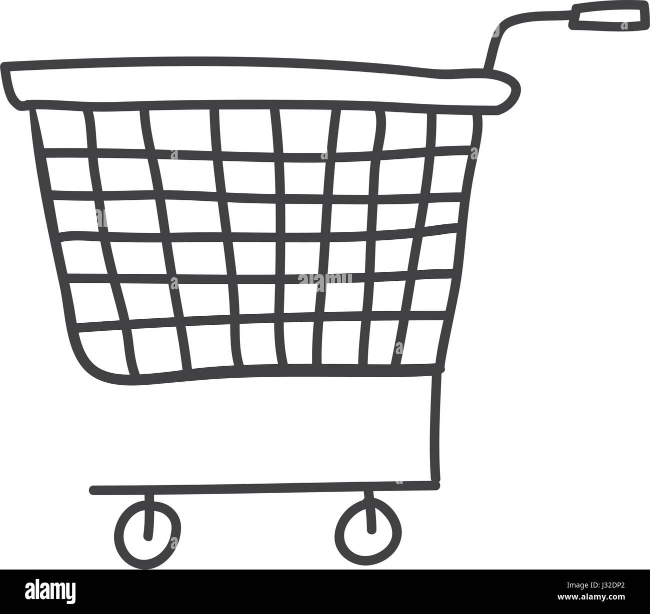 monochrome contour of supermarket shopping cart - Stock Vector