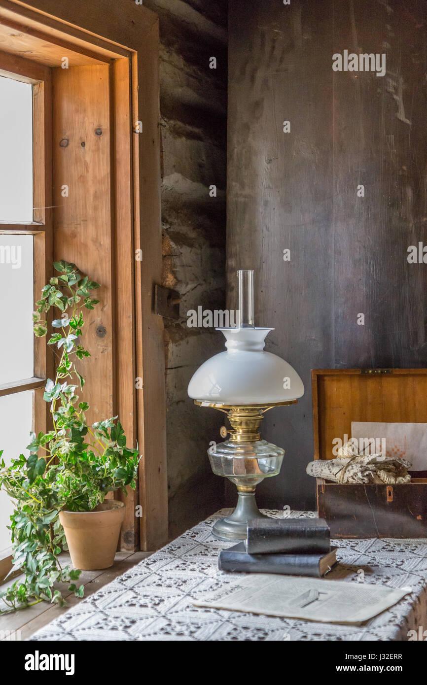 Cerosine Lamp On Table - Stock Image