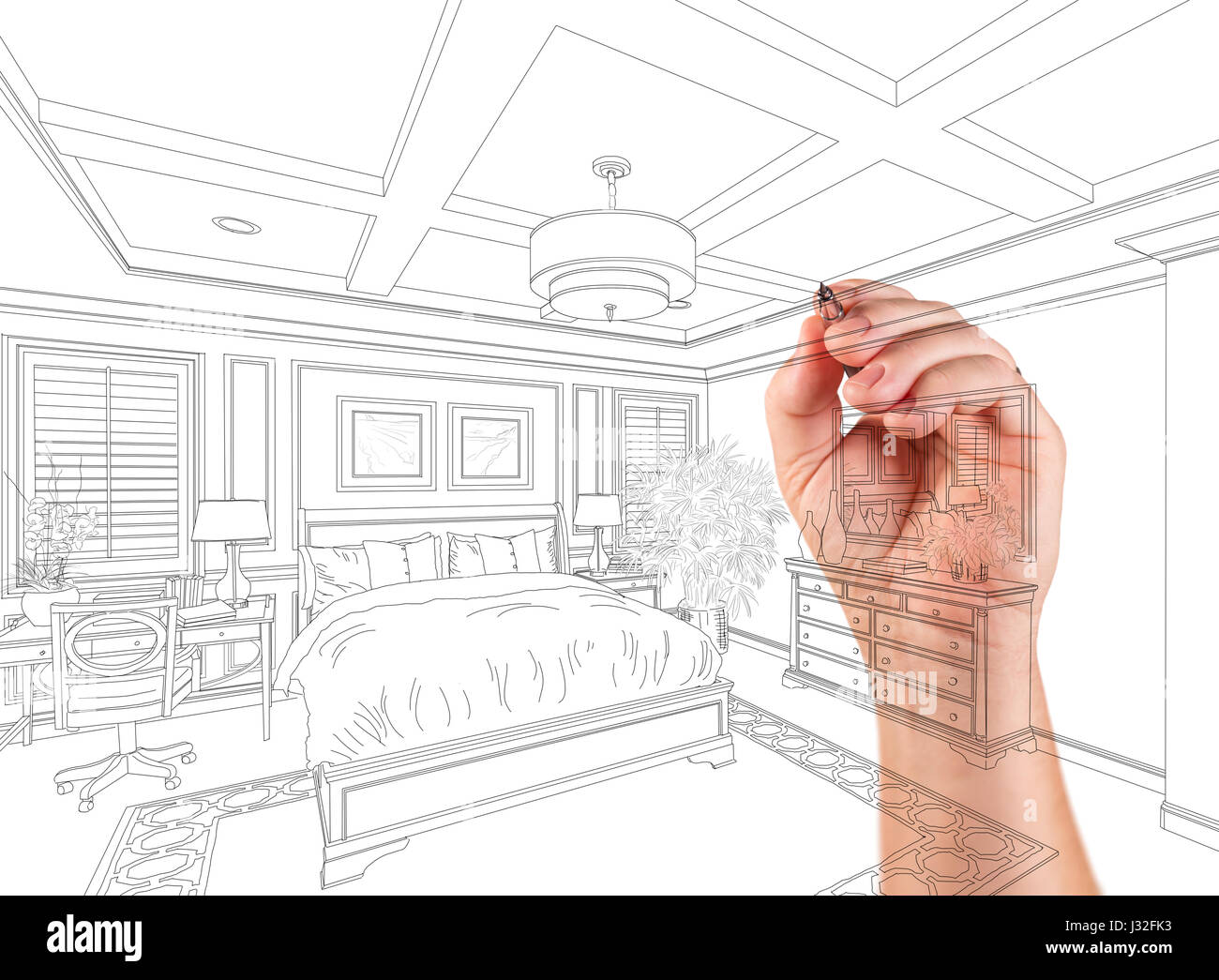 Hand Drawing Custom Master Bedroom Design On A White Background