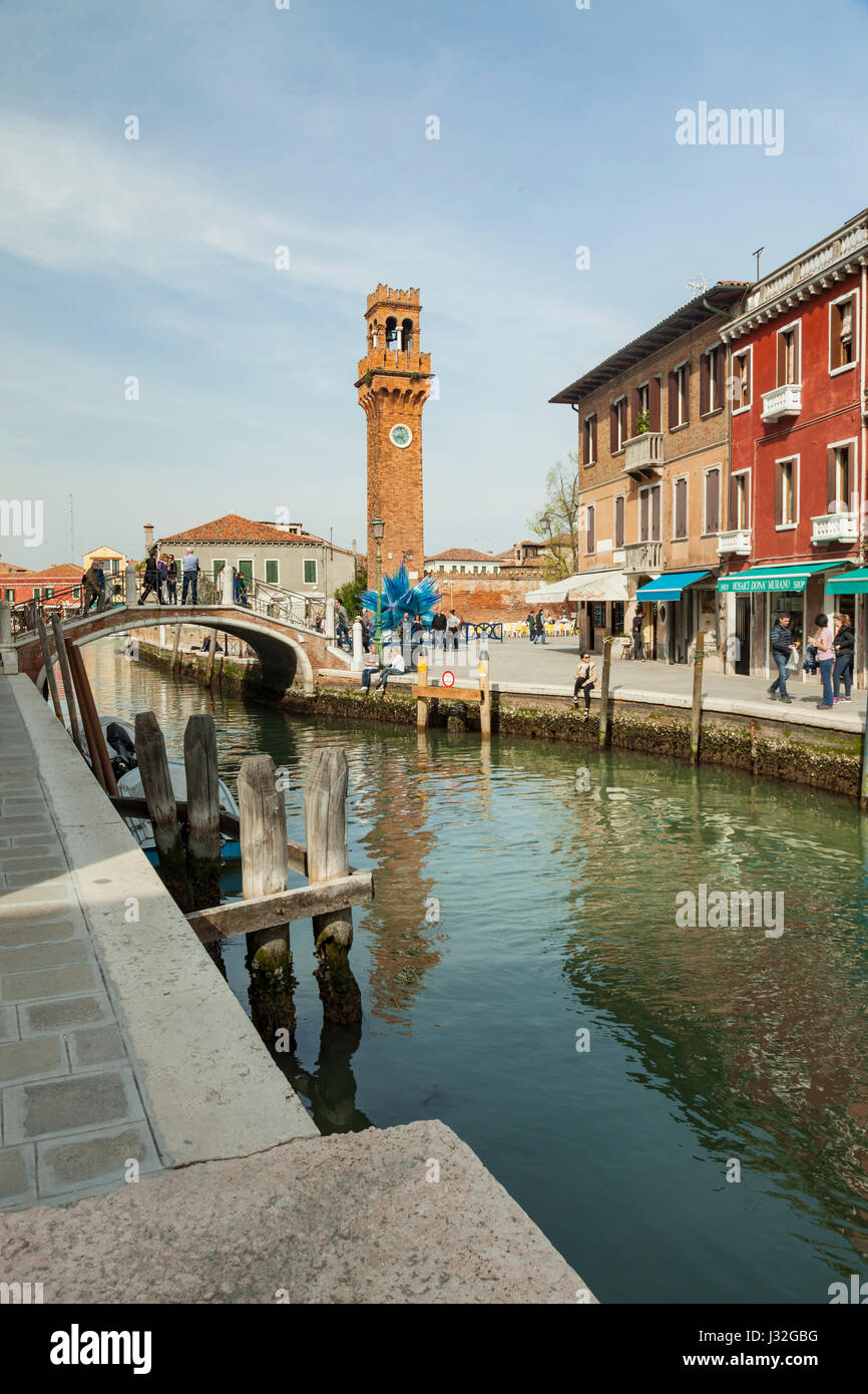 Spring afternoon on Murano island in Venice. - Stock Image