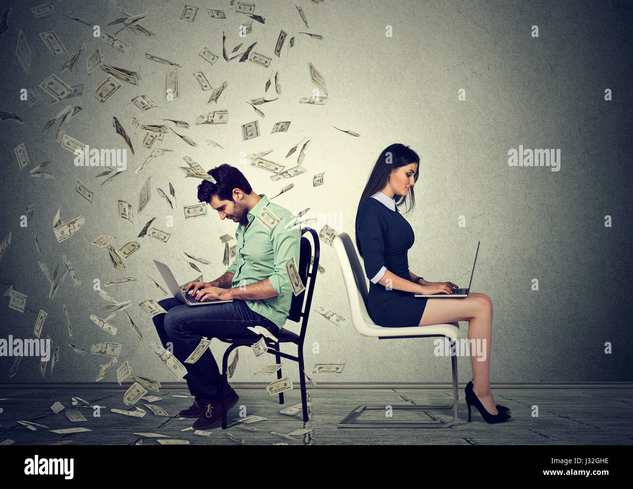 Employee compensation economy concept. Woman working on laptop sitting next to young man under money rain. Pay difference - Stock Image