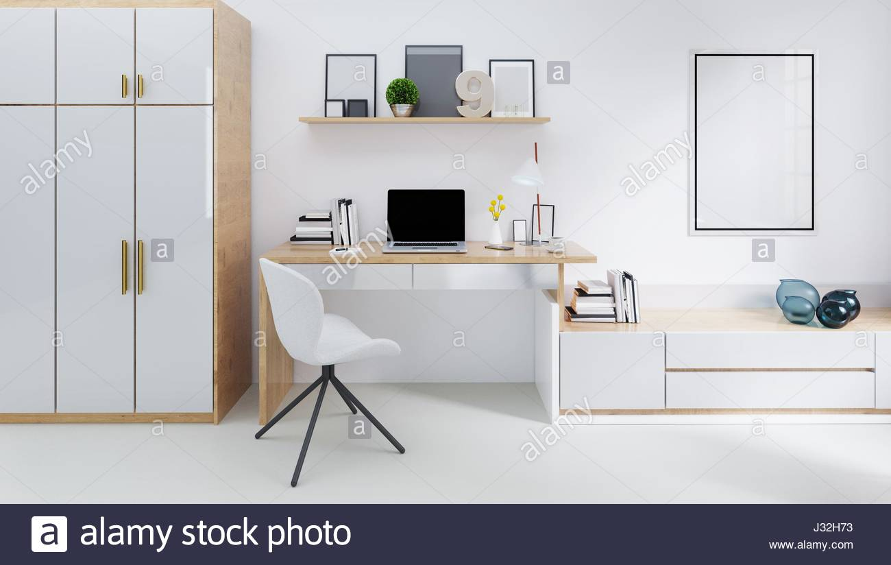 Modern Room With Laptop Computer On A Desk, Home Office Workspace 3D  Illustration