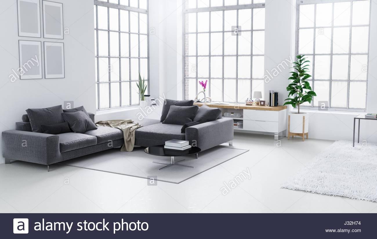 White modern living room, Scandinavian interior design 3D Stock ...