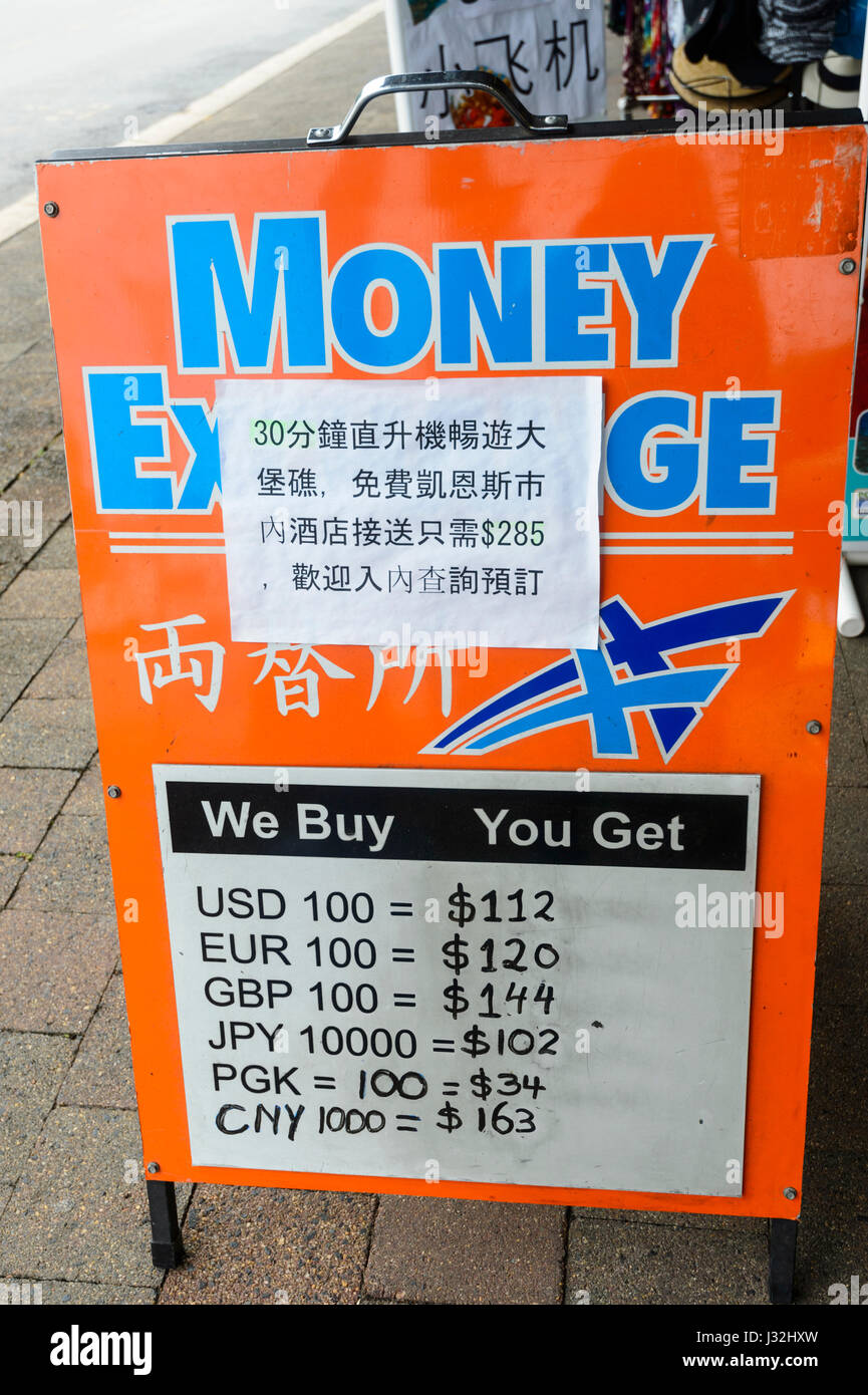 Money Exchange board showing rate of exchange of some Asian currencies, Far North Queensland, FNQ, QLD, Australia - Stock Image