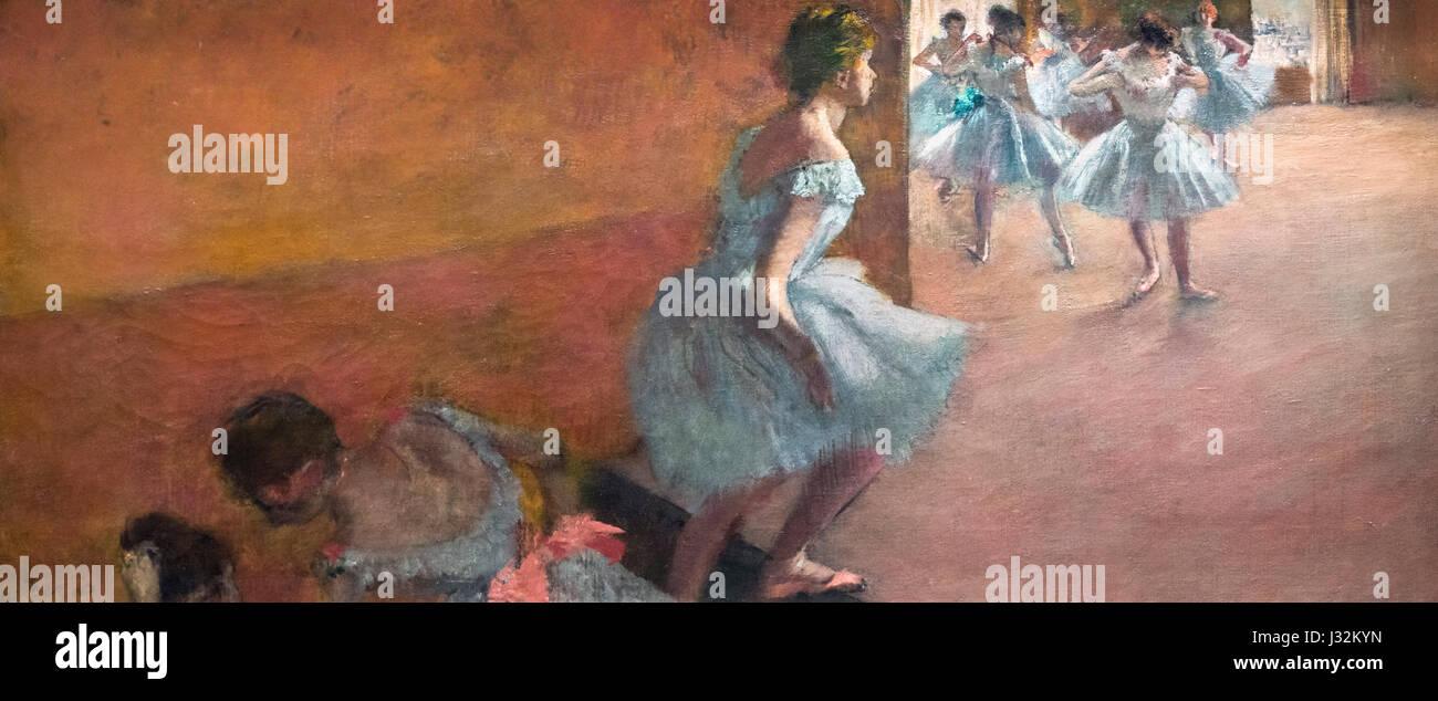 Degas. 'Danseuses Montant un Escalier' (Dancers Climbing the Stairs) by Edgar Degas, oil on canvas, c.1886 - Stock Image